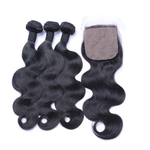 Brazilian Virgin Hair With Closure 4pcs lot Unprocessed Human Hair 4x4 Body Wave Silk Base Closure With Hair Weave Bundles G-EASY