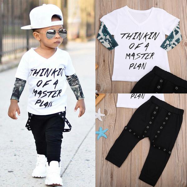 2 STÜCKE Neugeborenen Kleinkind Jungen Mädchen Kleidung Top + Hosen Body Outfit Set Baumwolle Falsch Two-piece T-shirt American Street Style Kleidung