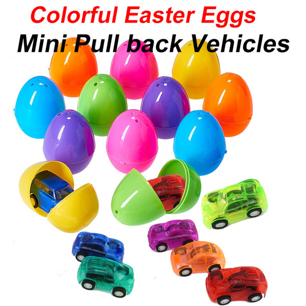 top popular Novelty Games 6*4cm Colorful Easter Eggs Filled+Plastic Mini Pull back Vehicles cars toys Capsule kids gifts 2021