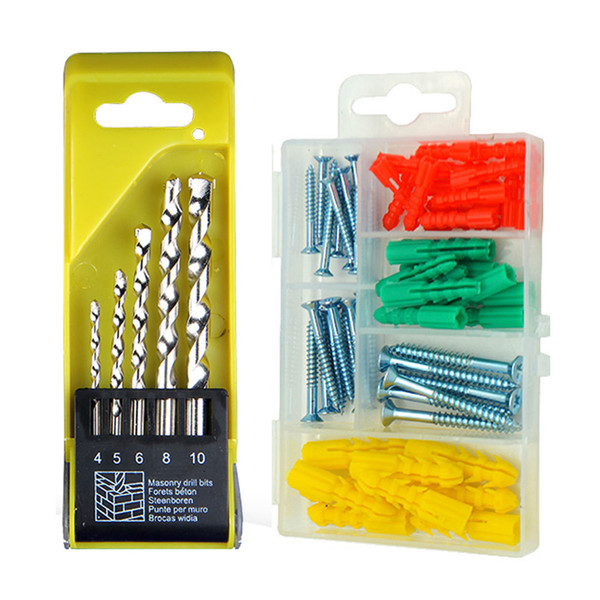 5pcs masonry drill bits set concrete brick drywall anchors screws assortment kit