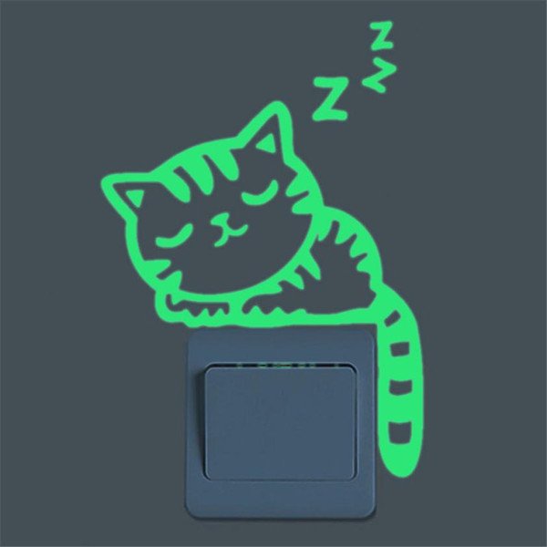Wholesale- Cute Creative Cat Luminous Noctilucent Glow in the dark Switch Wall Sticker Home decoration