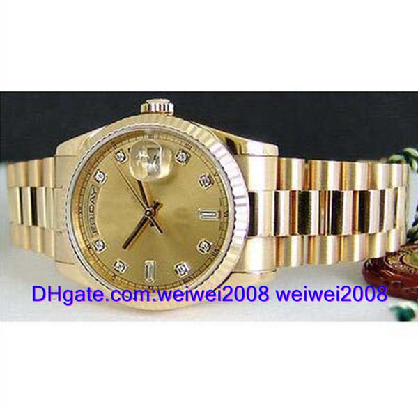 Relógio de luxo + caixa de presente dos homens 18kt Gold Presidente CHAMPAGNE Diamante 118238