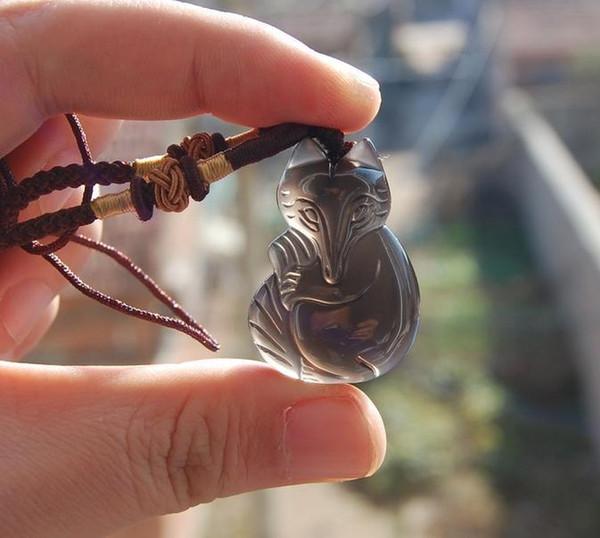 Natureis Obsidian Stein Hand geschnitzten Fuchs Glücksbringer Anhänger
