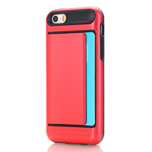 10pcs Cardslot Case For iphone 6s plus Soft TPU+PC card holder back cover for iphone 6 cases 2017 hot sale 11kinds color