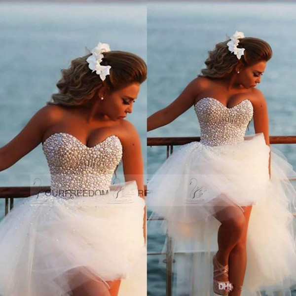 Luxury Pearls High Low Beach Wedding Dresses With Sweetheart Backless Ball Gown Tulle Custom Made White Summer Plus Size Bridal Gowns