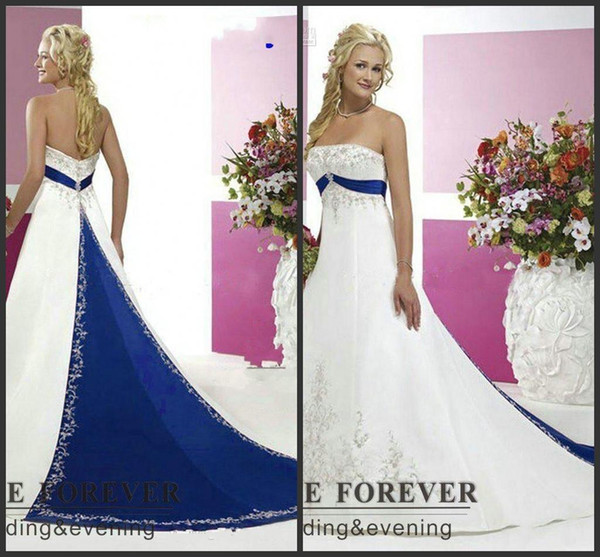 9ce41f35c0 2018 New Vintage Style Plus Size Wedding Dresses Silver Embroidery On Satin  White and Royal Blue Floor Length Bridal Gowns Custom Made 126