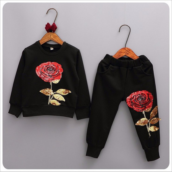 best selling 2019 New Spring Autumn Girls Tracksuits Children Rose Flower Embroidered Casual Sets Kids Sportswear Fashion Girl T-shirt+Pants 2pcs Suits