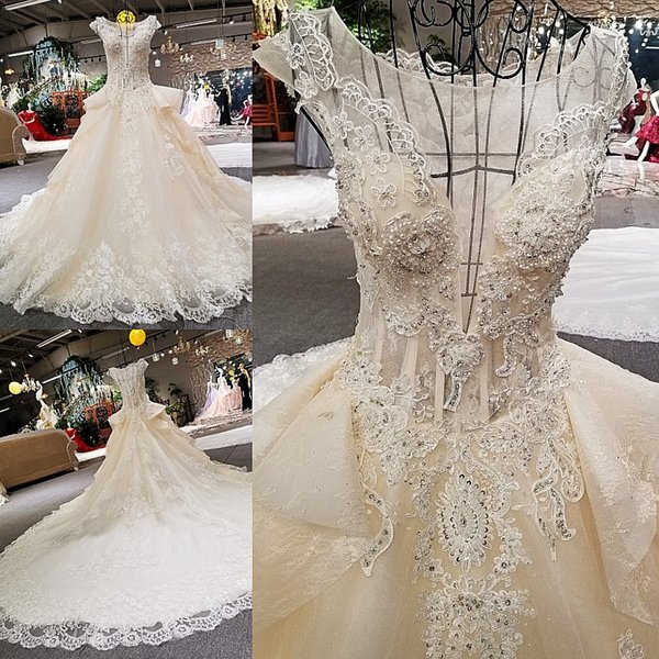 LS00260 cap sleeves see through back appliques flowers ball gown cathedral train women night bridesmaid dresses wedding