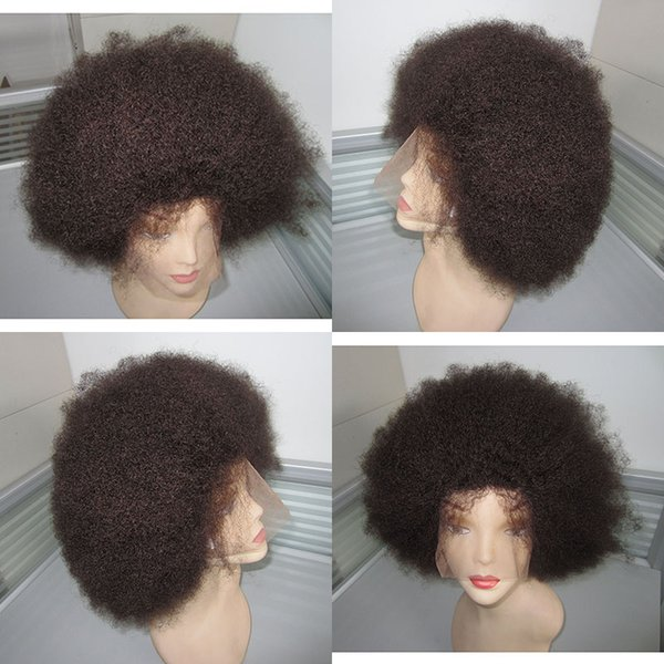 12inch natural color afro curly human hair indian full lace wig for black women lace front wig cap