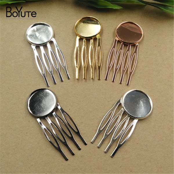 BOYUTE 20 Pieces 20mm Cabochon Base Hair Comb Accessories 6 Colors Plated Fashion Diy Hair Jewelry