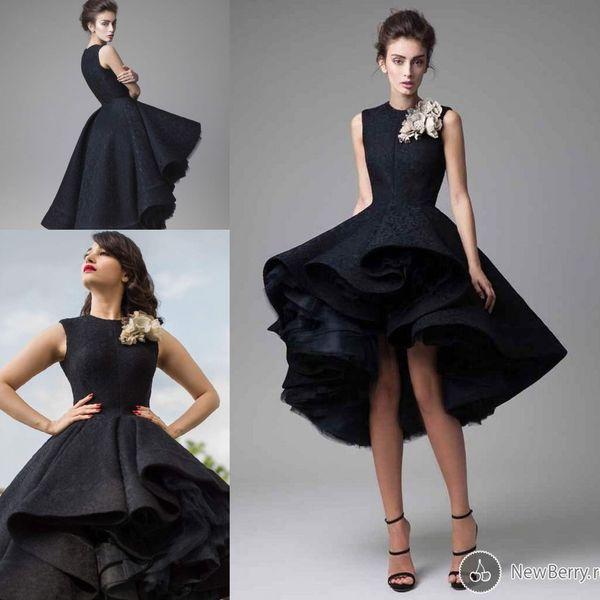 Little Black Dress KriKor Jabotian 2019 High Low Prom Party Gowns Lace Floral 3D Full Back Dubai Arabic Occasion Formal Evening Dresses