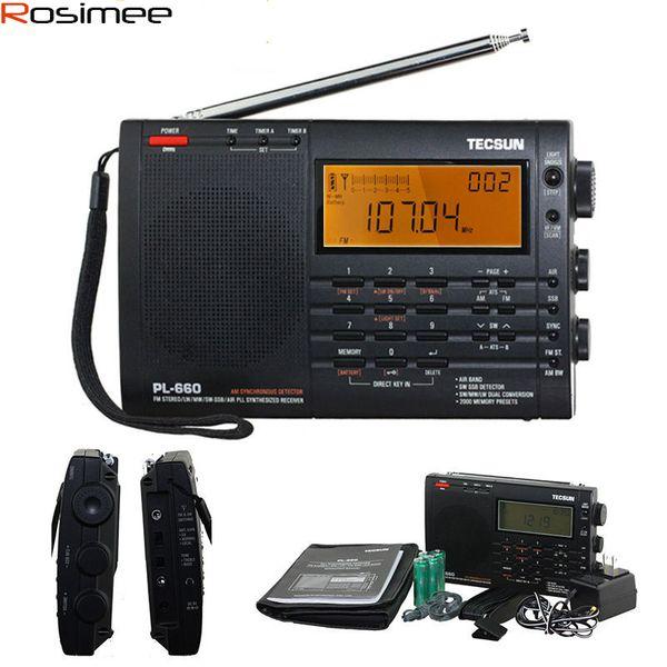 Wholesale-100% Original TECSUN PL-660 Radio PLL SSB VHF AIR Band Radio Receiver FM/MW/SW/LW Radio Multiband Dual Conversion TECSUN PL660