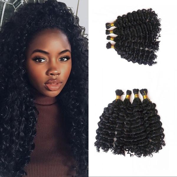 4 Bundles Bulk Human Hair for Braiding Peruvian Deep Wave Bulk Hair Extensions No Attachment FDSHINE