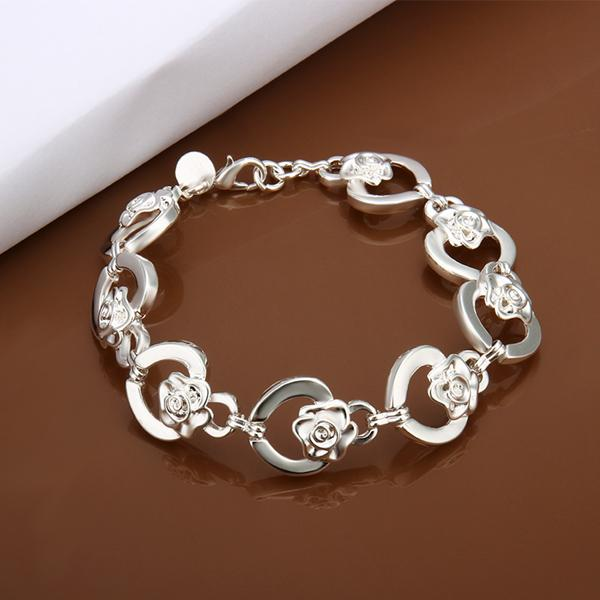 Free shipping Wholesale 925 Sterling silver plated Lobster-claw-clasps charm bracelets LKNSPCH335