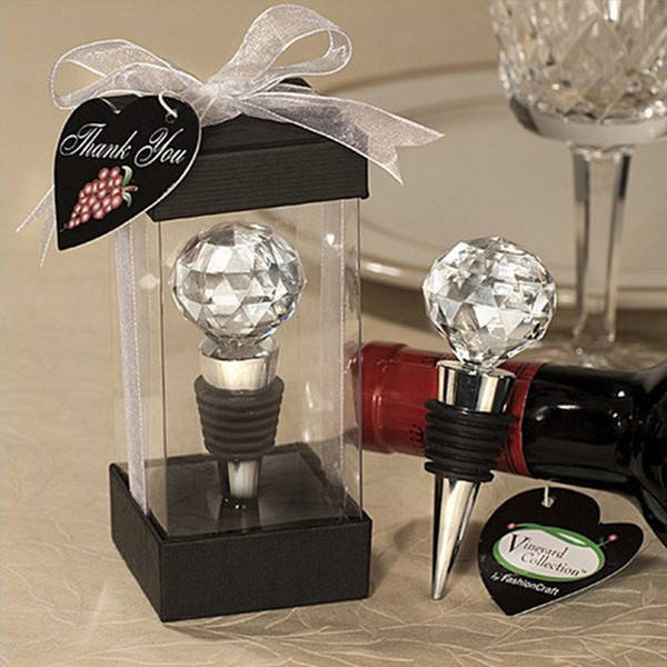 Stopper Gift Wedding Favor Wedding Souvenirs Gift Crystal Ball Elegant Red Wine Bottle Stoppers Party Souvenir Bar Tool 2017