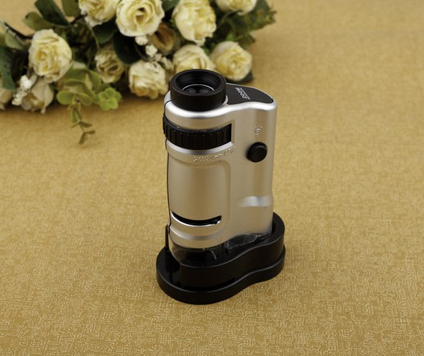 Direct selling with light source, 20X-40X zoom, mini pocket microscope magnifier