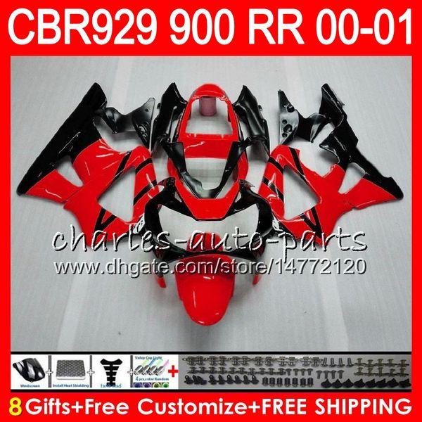 Body For HONDA CBR 929RR CBR900RR CBR929RR 00 01 CBR 900RR 67HM4 red black CBR929 RR CBR900 RR CBR 929 RR 2000 2001 Fairing kit 8Gifts