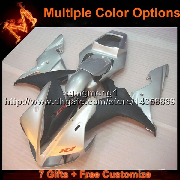 23colors+8Gifts SILVER YZF R1 02 03 motorcycle cowl Fairing For Yamaha YZF1000 2003 YZF-R1 2002 YZFR1 2002 2003 ABS Plastic Fairing
