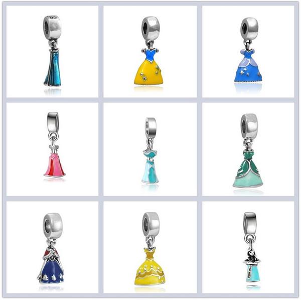 Fits Pandora Bracelets Silver Pendant Belle Cinderella Ariel Charm Bead Loose Beads For Wholesale Diy European Sterling Necklace Jewelry