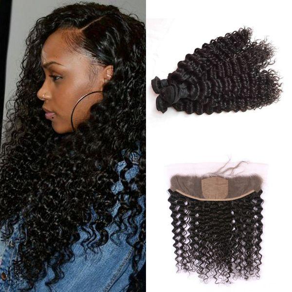 Peruvian Human Hair Bundles With Silk Base Frontal Closure Natural Black Vrigin Peruvian Deep Wave Closure G-EASY
