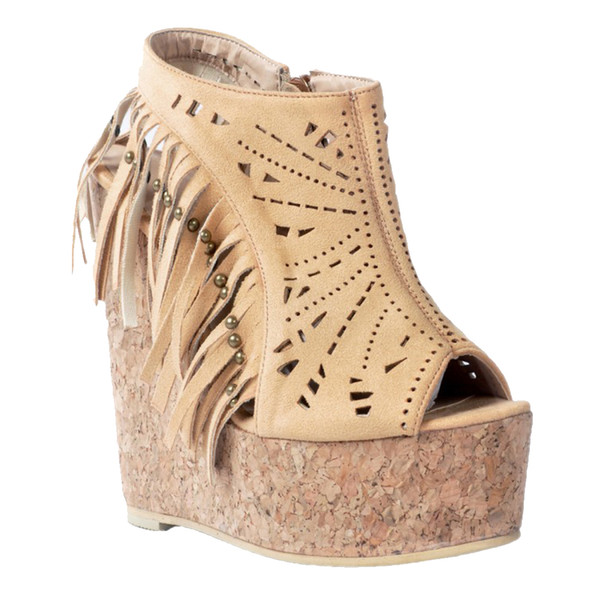 Zandina Womens Handmade Fashion Wadge High Heel Summer Sandals Fringed Peep-toe Cut-out Party Dance Dress Shoes For Free Shipping XD392