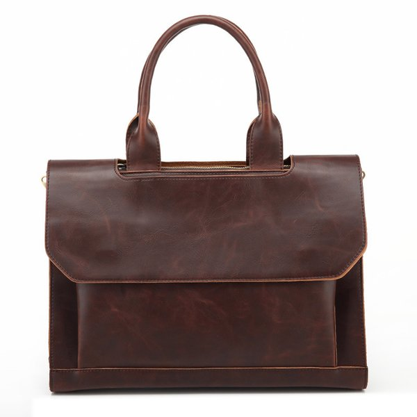 Wholesale- Top PU Leather Men Bags Shoulder Vintage Leather Men's Black Zipper Briefcase Laptop Bag Men Messenger Bags Handbag Totes