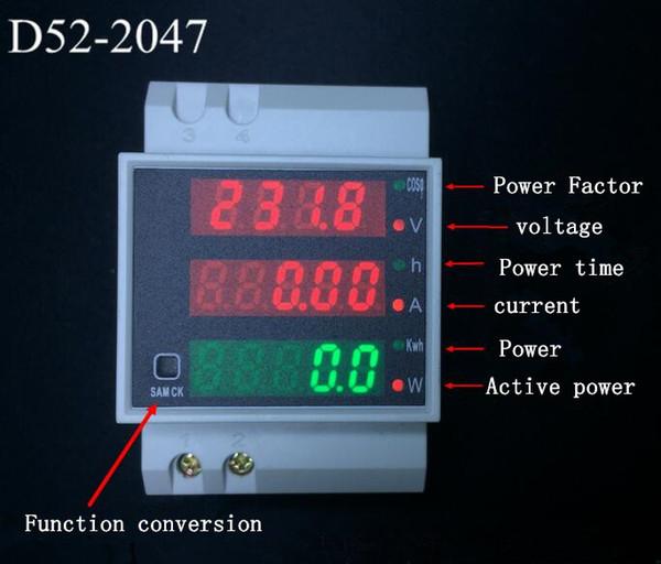 New Analysis Device Din Rail Dual Led Display Digital AC Voltmeter Ammeter Volta