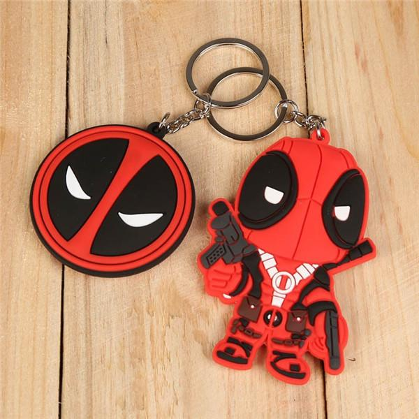 20pcs/lot 2 Sty Marvel Anime X-MEN Deadpool PVC Keychain Toys Action Figures Toy Dolls For Collections Q Version 8cm Can Choose