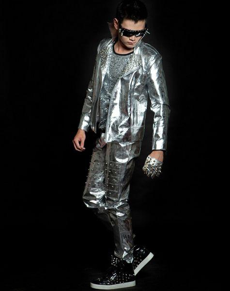 Nuevo estilo Bar remache de plata pantalones largos para cantantes masculinos en trajes de la etapa de la discoteca de los hombres ds inferior líder mostrar la ropa