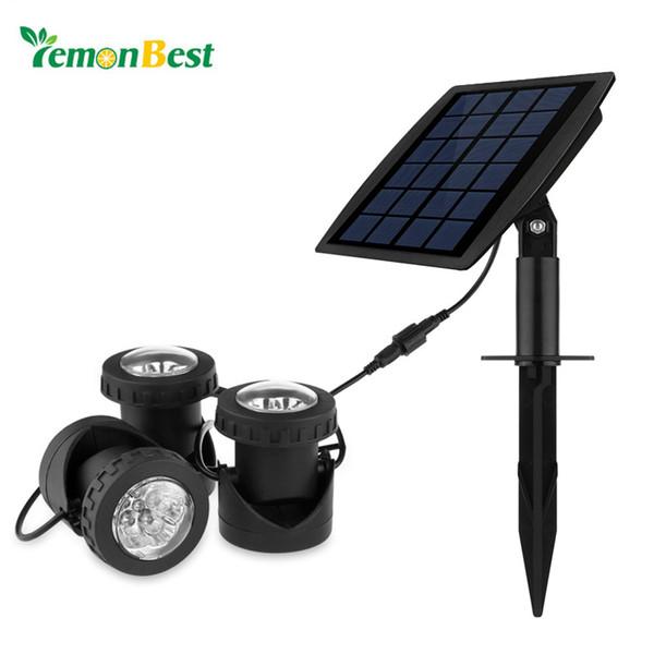 Vente en gros- 3pcs RVB LED sous-marine à énergie solaire sous-marine Projecteur Projecteur IP68 pour Jardin Paysage Parc Rockery Pool Pond