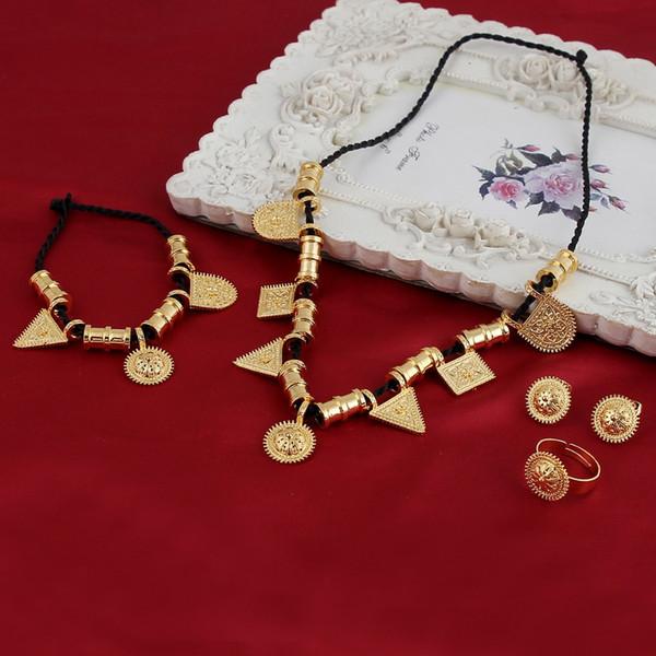 Eritrea Habesha Ethiopian set Jewelry Rope Necklace Diversify Hanging drop Bracelet Earring Ring 18k Yellow Solid Gold GF Africa Wedding