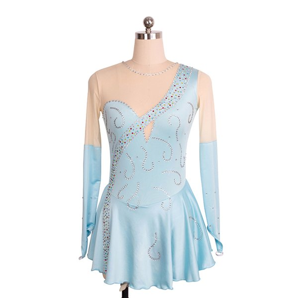 Light Blue Spandex Nude Tulle Long Sleeve Beaded Competition Dress Girls Fashion 2017 Children Dress Short Length