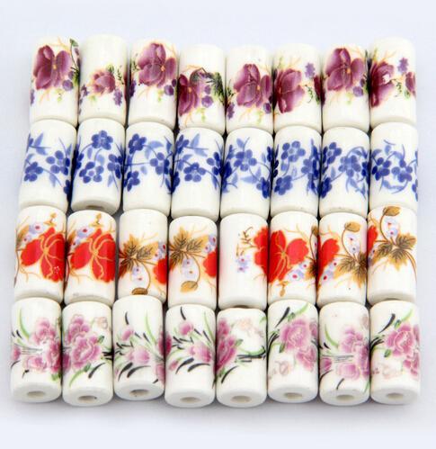 20 Stück, 9mm * 17mm, Lochgröße ca. 3mm Porzellanperlen, Mischfarbe, Blumenmuster Keramik DIY lose Perlen Schmuckzubehör