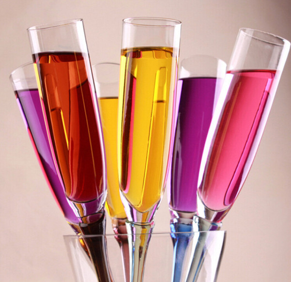 Lead-free Beach Color Cup KTV,Bar,Restaurant And Party Glass Champagne Flutes,Cocktail Goblet,Color Random delivery