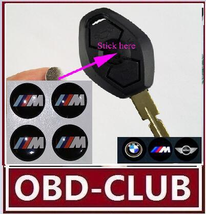 top popular 50pcs lot 3D For BMW M logo Folding key M sticker 11MM 12MM Auto Key Fob Emblem Badge Radio button Sticker For bmw M serials 2019