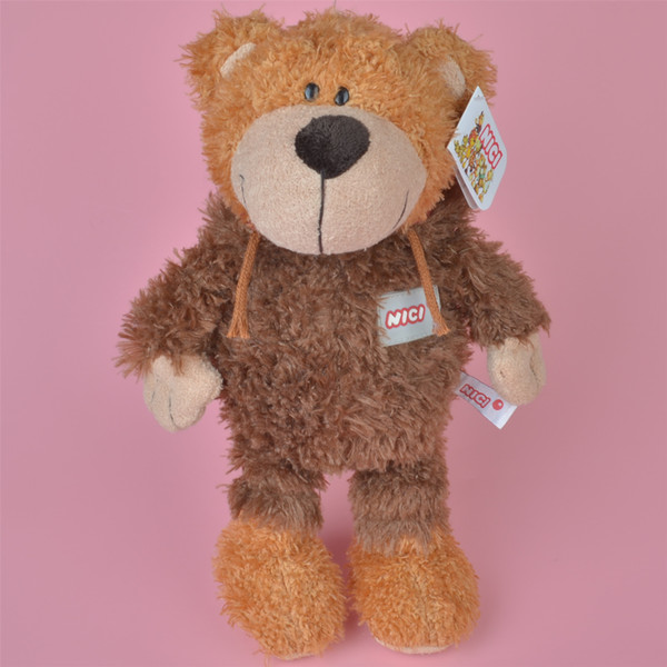 Light Brown Color 35cm Soft Stuffed Eyebow Teddy Bear Plush Toy, Baby Kids Brithdat Party Doll Gift Free Shipping