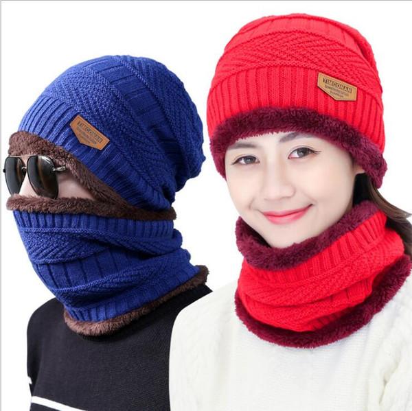 Acheter Bonnet Bonnet écharpe Ensemble Chapeaux Tricotés Chaud épaississent Chapeau Dhiver Pour Hommes Et Femme Unisexe Coton Bonnet Bonnets Tricotés