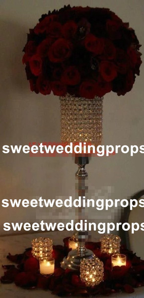 Tall hot sale customized wedding metal tall table glass crystal centerpieces flower stand for wedding decoration