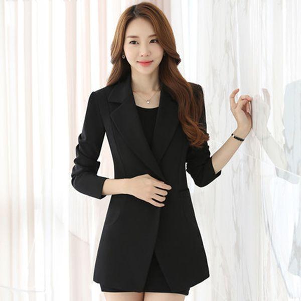 2019 2017 Slim Winter Long Blazer Women Plus Size Suit Women Office Blazers Female Casaco Feminino Long Jacket Casacos Clothes Elegant 50N408 From