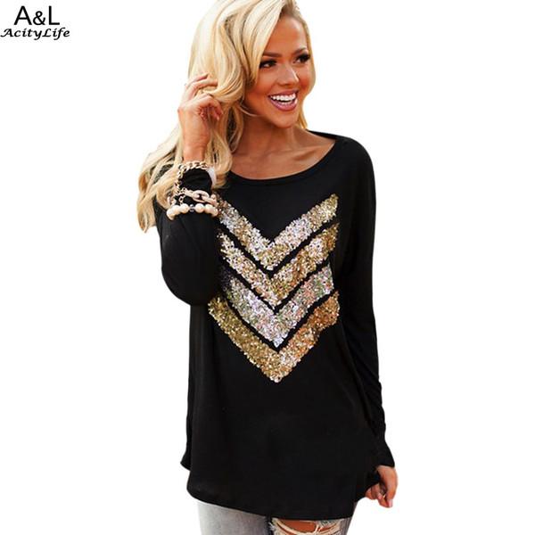 Wholesale- Black 2017 Fashion Stylish Ladies Women T Shirt Casual Long Sleeve O Neck Loose Sequin T-Shirt Tops 67 poleras largas mujer