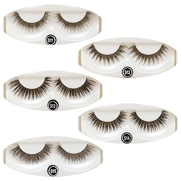 5pairs/set Fake Eyelashes Women Thick Crisscross Winged Natural Long Tapered Cotton Stalk Black Full Strip Lashes with Box 5 Styles
