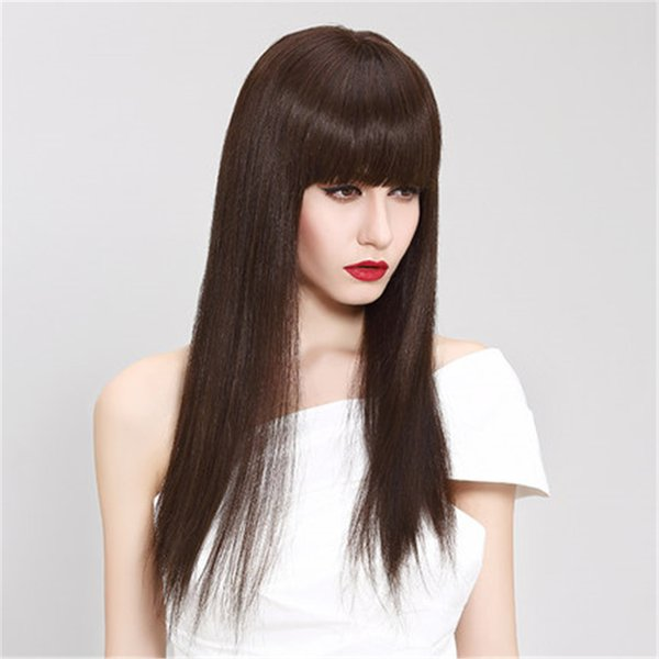 Full Lace Human Hair Wig Senior silk 5.5 * 5.5 wig Long Wavy Full Lace Wigs Brazilian Virgin Hair 100% With Bangs For women Color 4 # kabell