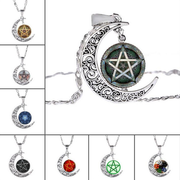 High quality Hot witchcraft five-pointed star pattern time gemstone necklace glass pendant WFN210 (with chain) mix order 20 pieces a lot