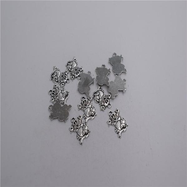 Nuevos Materiales: aleación de zinc metal 15 * 13 mm, lazo: 1 mm 20 piezas de plata antigua plateado poco encanto gato feliz colgante T0150