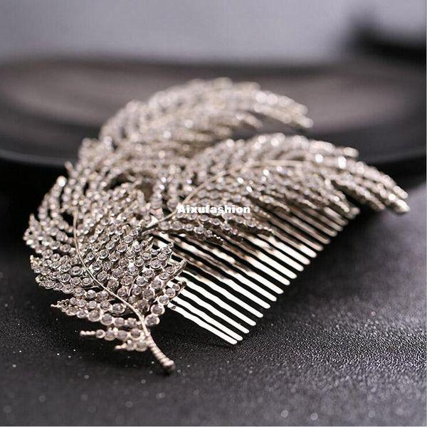 New Bridal Headwear Wedding Hair Accessories Rhinestone Feather Hairpins Head Jewelry Hair Clip Comb for Women Party Headband