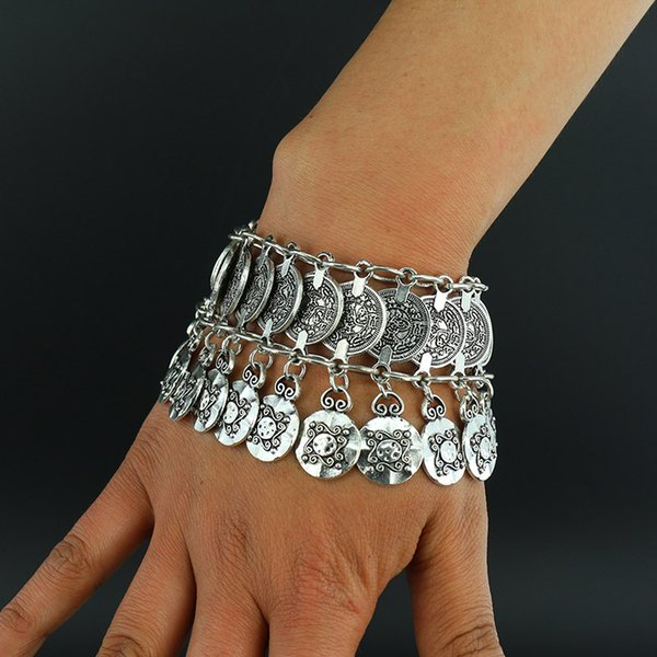 Vente en gros - Nouvel alliage Vintage Bracelets de Bohême bracelet Gypsy ethnique multicouche mode féminine Bracelet plaqué argent pour femmes bijoux fins