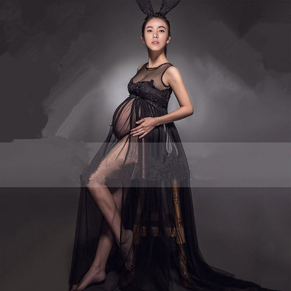 best selling 2017 New Maternity Dress Black Maternity Lace Dress Pregnant Photography Props Fancy Pregnancy Maternity Photo Shoot Long Dress