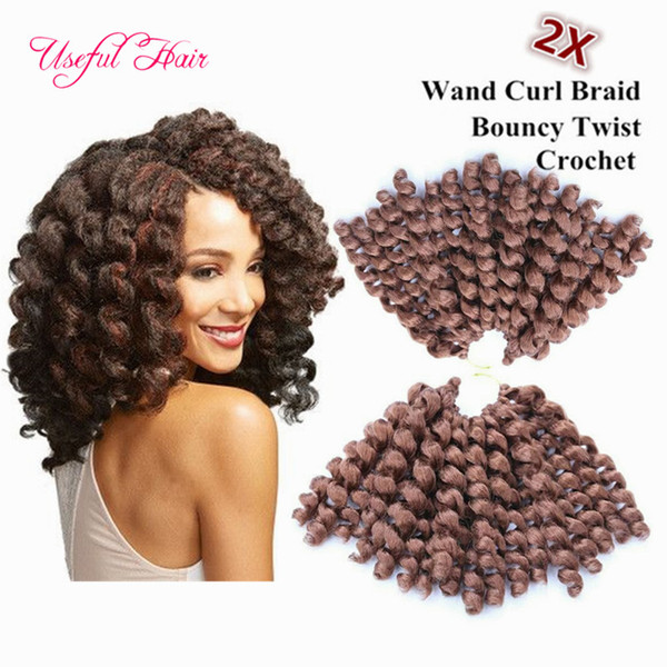 WAND CURL 8inch marley braids bouncy twist crochet hair extensions Janet Collection synthetic braiding hair ombre crochet hair bundles US,UK