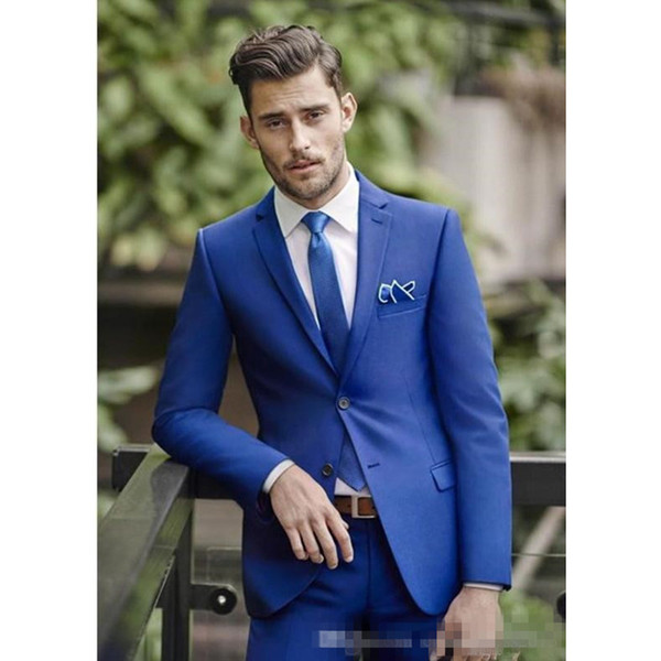 Classy Blue Wedding Mens Suits Slim Fit Bridegroom Tuxedos For Men Groomsmen Suit Cheap Formal Business Suit(Jacket+Pants)
