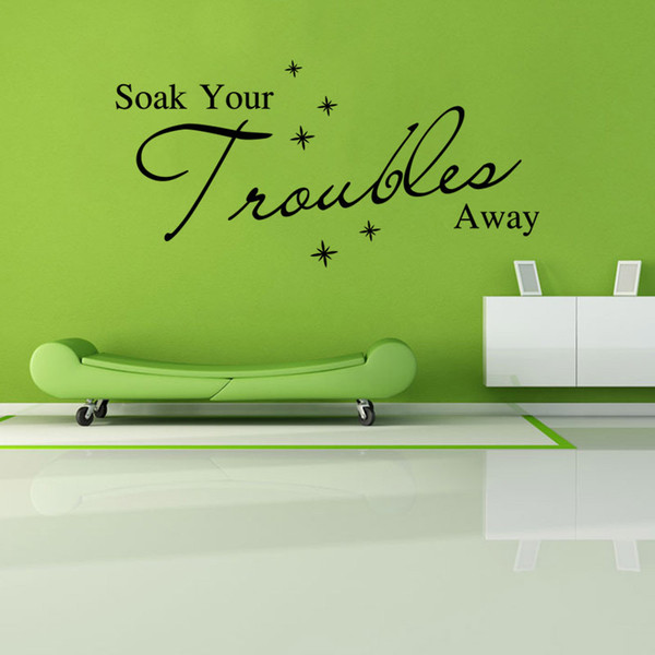 AW9162 Soak Your Troubles Away English Quote Wall Sticker Bubble Vinyl Wall Decals Art Vinyl Wall Quotes Free Shipping